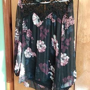 Black flowered blouse